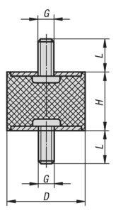 Чертеж K0566 Виброизоляторы резинометаллические, наружная резьба