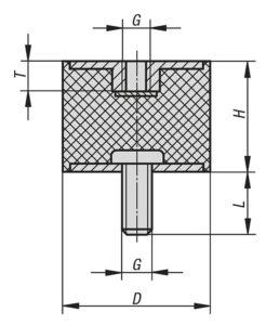 Чертеж K0568 Виброизоляторы резинометаллические цилиндрические