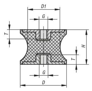 Чертеж K0570 Виброизоляторы резинометаллические с сужением